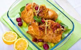 Курица, запеченная с виноградом. Рецепт