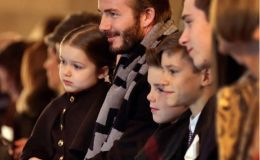 Дэвид Бэкхем со всеми детьми на показе Виктории Бэкхем. Фото