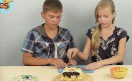 Как оформить салат для праздничного стола: Губка Боб, смайлик и Билл Шифр. Видео