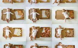 Хроника первого года: мама снимала сына каждый месяц рядом с кусочками пиццы