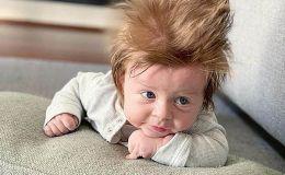 Новорожденный малыш покорил сеть невероятной прической