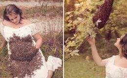 Беременная американка снялась в фотосессии с роем пчел на животе