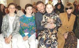 Образцовая семья: Дэвид Бекхэм с детьми на модном показе Виктории