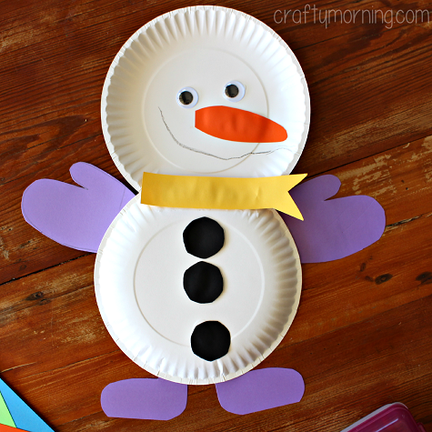 http://www.craftymorning.com/cute-paper-plate-snowman-craft-kids/