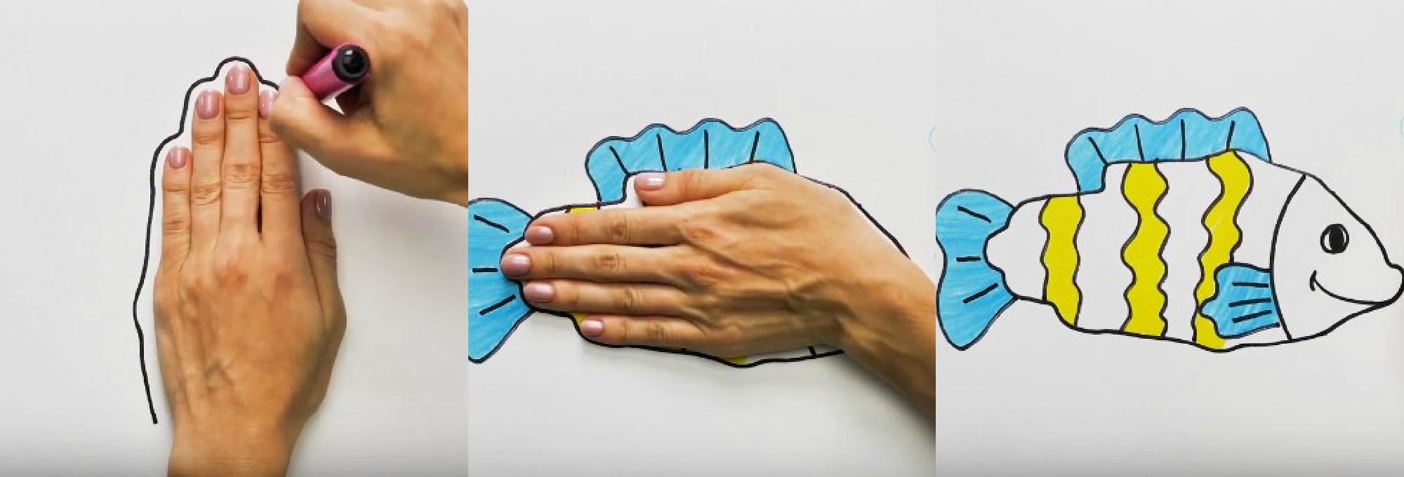 рисунки лайфхаки, как нарисовать животных, рисуем с ладошками
